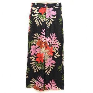 Zara Colorful Floral Wide Leg High Waist Pants